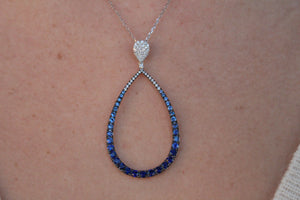 Large Diamond and Ombre Blue Sapphire Tear Drop Shaped Pendant