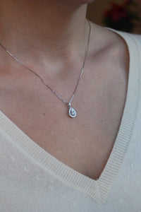 Pear Shaped Halo Diamond Pendant