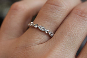 Antique Inspired Diamond Stackable in 18kt White Gold