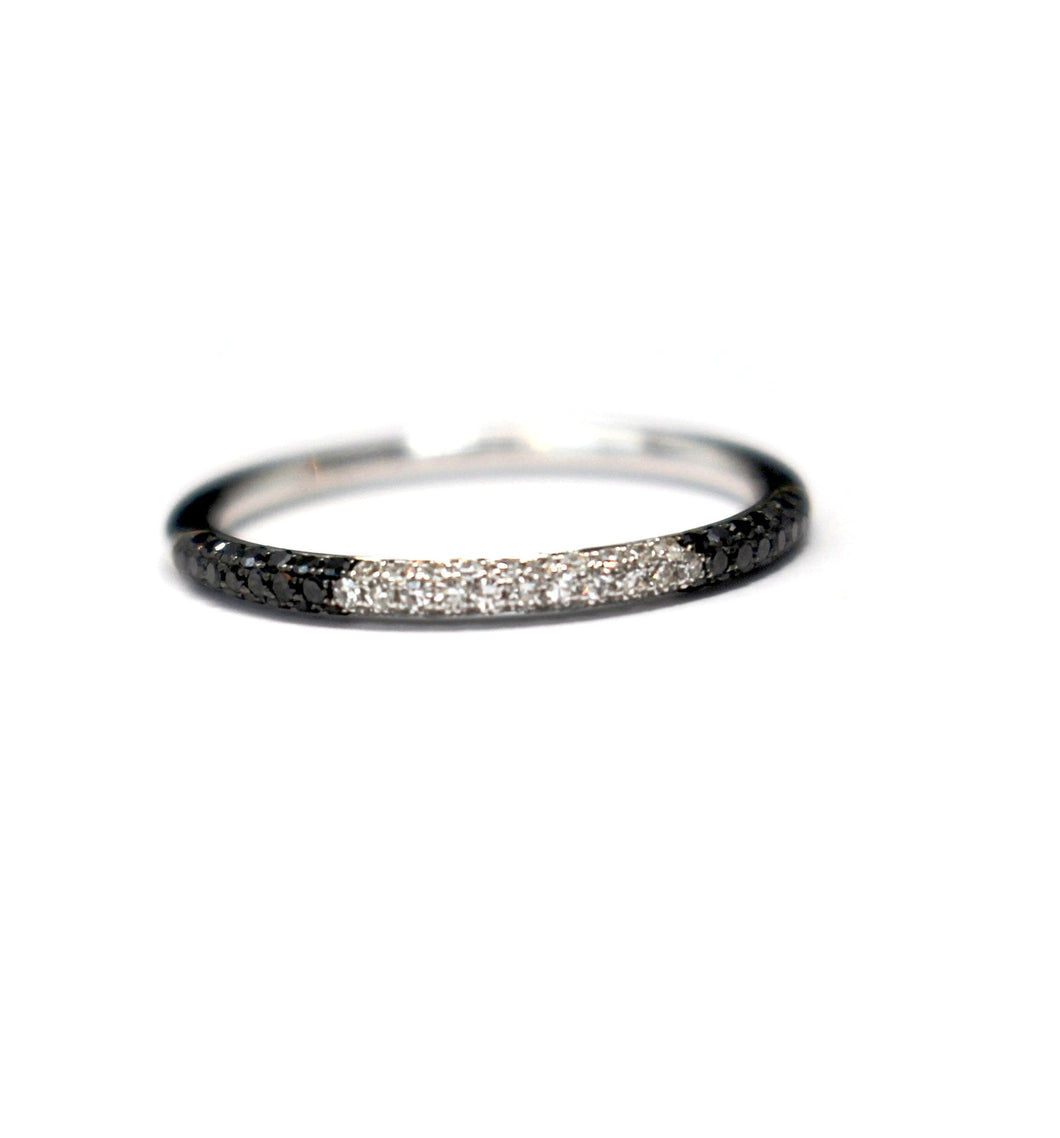 Domed Black and White Diamond Stackable in 14kt White Gold