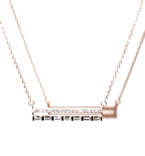 2 Row Diamond Bar Necklace With Baguettes