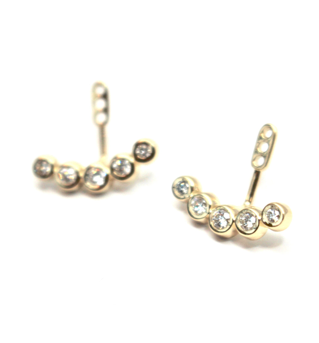 14kt Yellow Gold Diamond Curved Front Back Bezel Set Earring Jackets