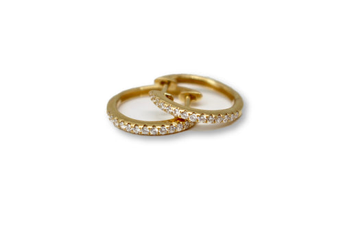 Small Yellow Gold and Diamond Hoops