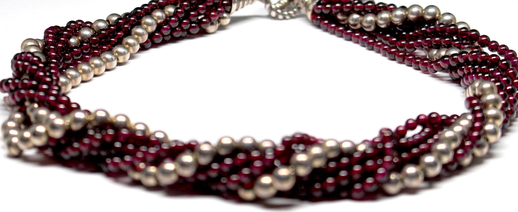 Tiffany & Co. Sterling Silver Garnet Bead Torsada Necklace