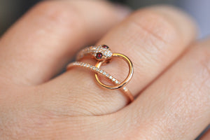 14kt Solid Rose Gold Diamond Snake Ring With Ruby Eyes