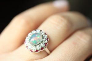 Beverly K Oval Cut Opal, Diamond, and Ruby Ring in 14kt White Gold