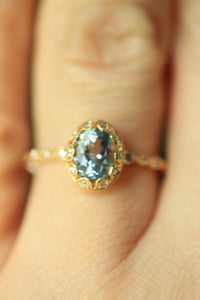 Beverly K Oval Cut Genuine Aquamarine and Diamond Ring in 14kt Solid Gold