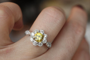 Vintage Inspired Diamond Flower Halo Engagement Ring