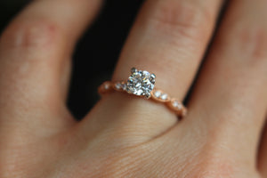 Slim Rose Gold and Diamond Scalloped Vintage Styled Engagement Ring