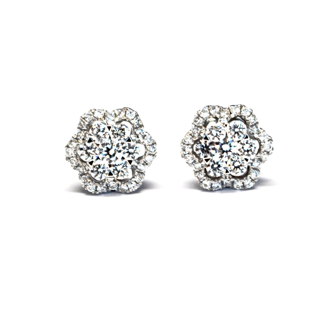 Cluster Flower Halo Diamond Earrings