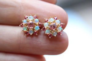 Genuine Ethiopian Opal Cabochon & Pink Topaz Snowflake Earrings