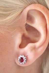 CLOSE OUT - Vintage Inspired Genuine Oval Cut Ruby and Dimond Earrings in 18k White Gold