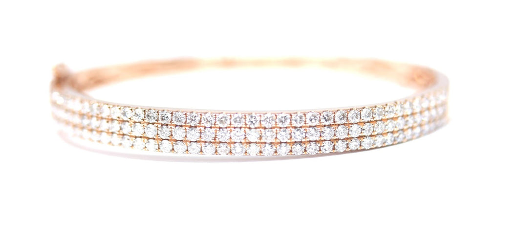 3 Carat and 3 Row Diamond Bangle in 14kt Rose Gold