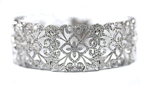 Wide Vintage Inspired Diamond Bangle in 14kt White Gold