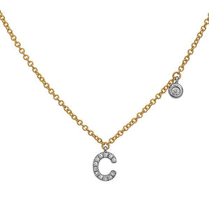 Diamond Initial Letter Necklace With a Bezel Set Side Diamond
