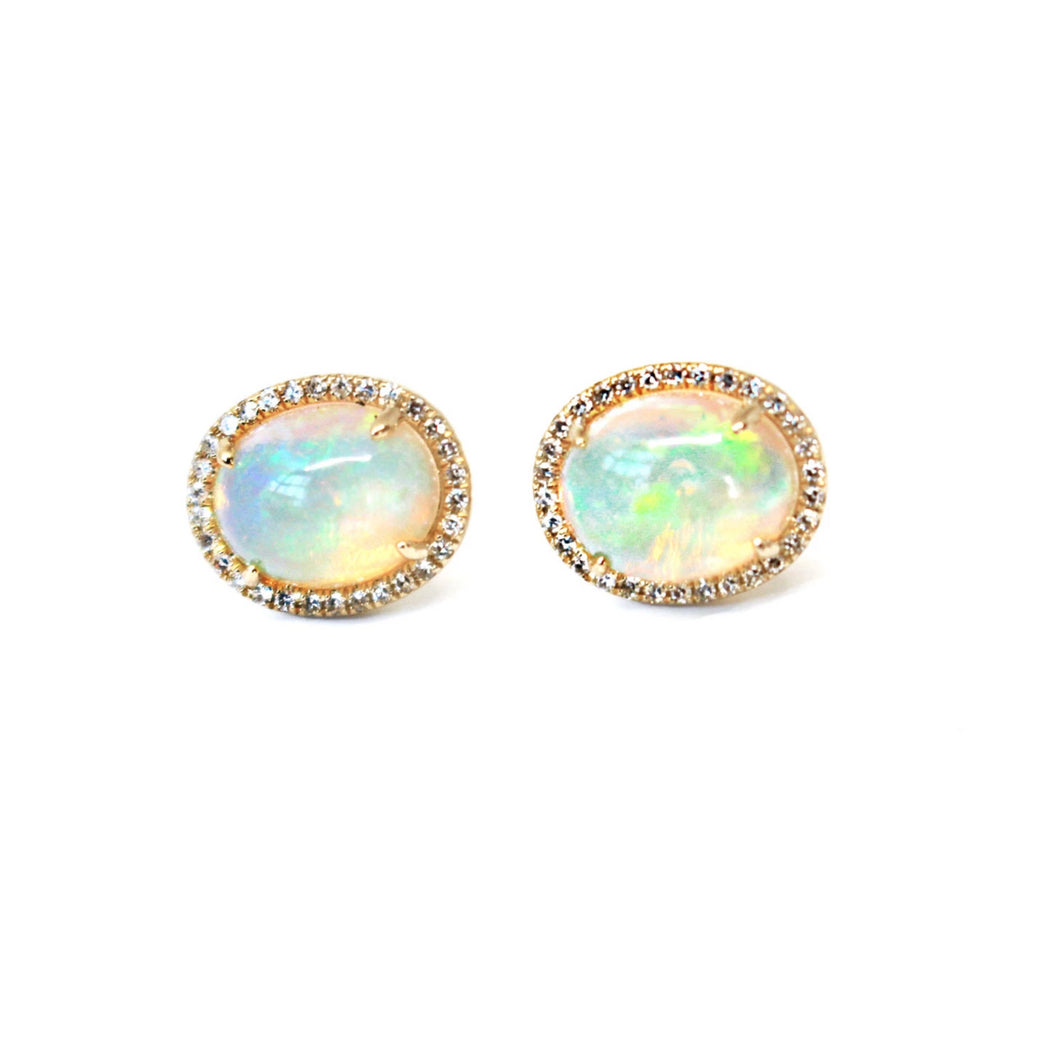 Genuine Opal Oval Cut Earrings Surrounded by a Halo of Diamonds