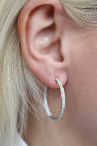 White gold diamond pave hoops