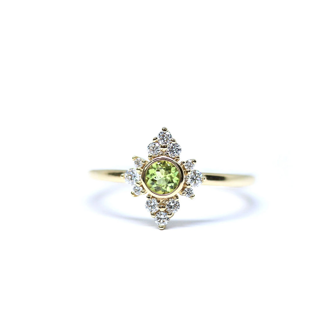 Apple Green Peridot and Diamond Halo Ring