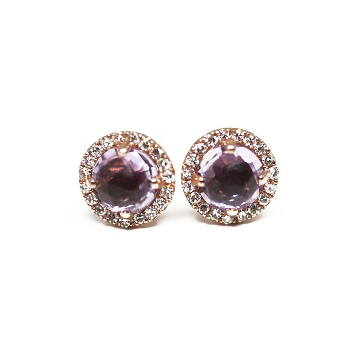 diamond and amethyst halo round earrings