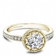 yellow gold shared prong engagement ring