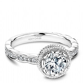 Noam caver shared prong white gold round diamond engagement ring