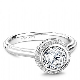 bezel set round diamond solitaire engagement ring