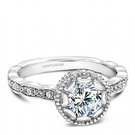 white gold diamond engagement ring for a round diamond