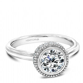bezel set round diamond with plain shank engagement ring