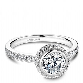 bezel set round diamond engagement ring with channel set head