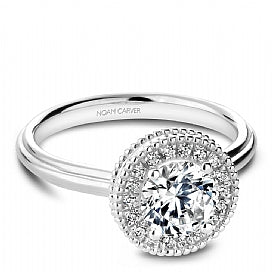 halo engagement ring with plain shank for round diamond