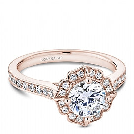 rose gold antique halo round diamond engagement ring