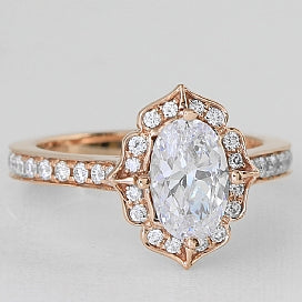 Vintage Inspired Rose Gold and Oval Diamond Halo Engagement Ring