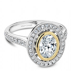 two tone oval cut halo diamond vintage engagement ring