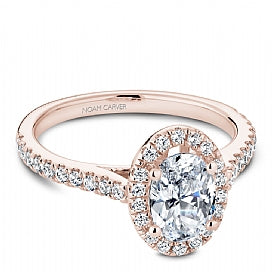 Shared Prong Halo Engagement Ring R050-02RM