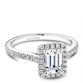 emerald cut halo diamond halo engagement ring