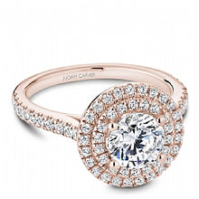 rose gold double halo diamond ring