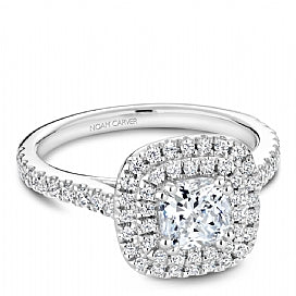 double halo white gold engagement ring with slim shank