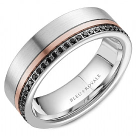 Men's Two-Tone Wedding Band  With Black Diamonds RYL-070RWBD7
