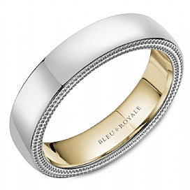 Mens 14kt Gold Two-tone wedding band