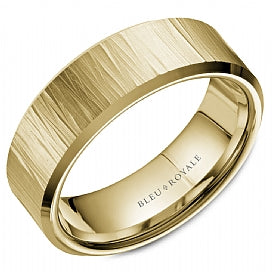 Bleu Royale Men's Wedding Band With Texture and High Polish Beveled Edges RYL-088Y75