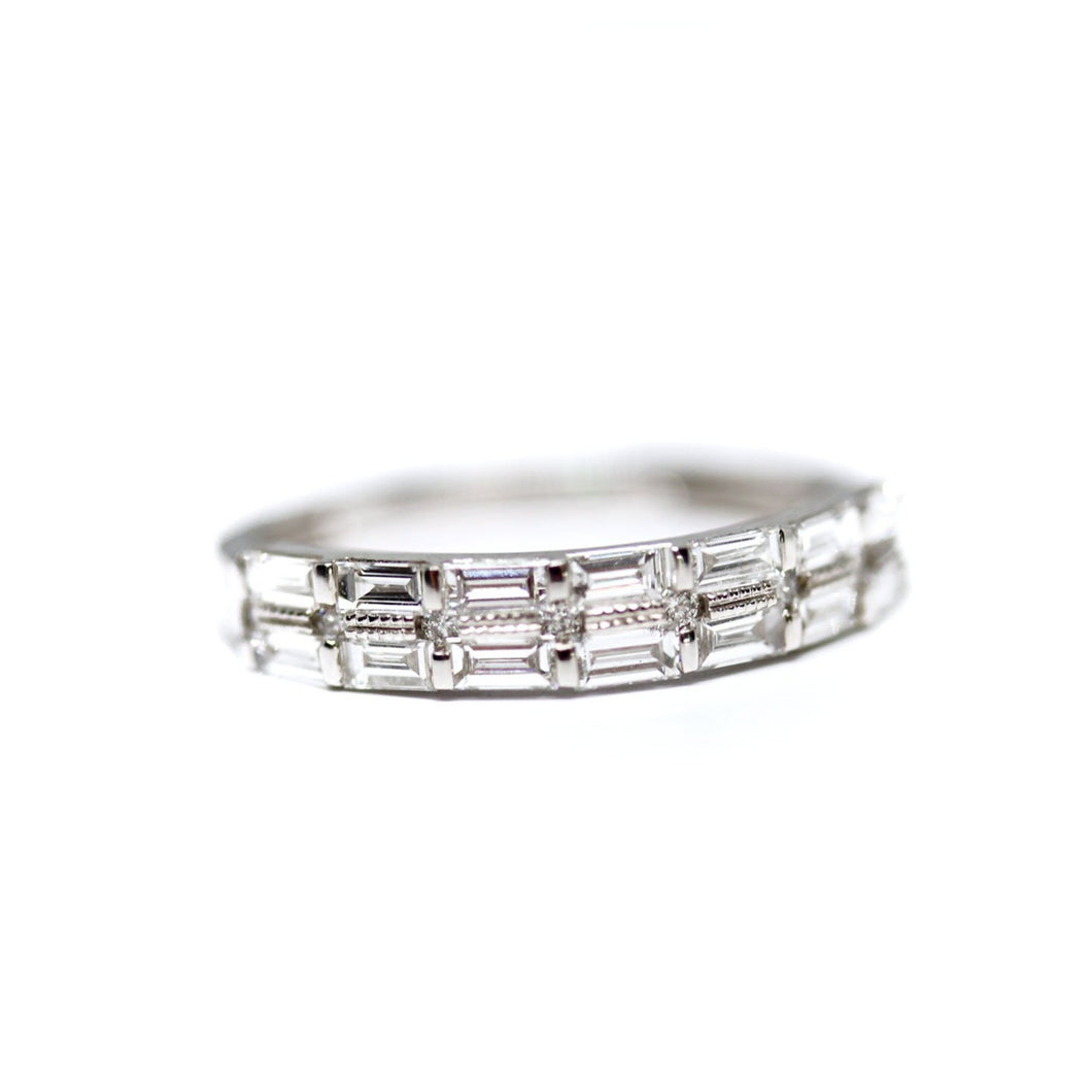 2 Row Diamond Baguette Wedding Band