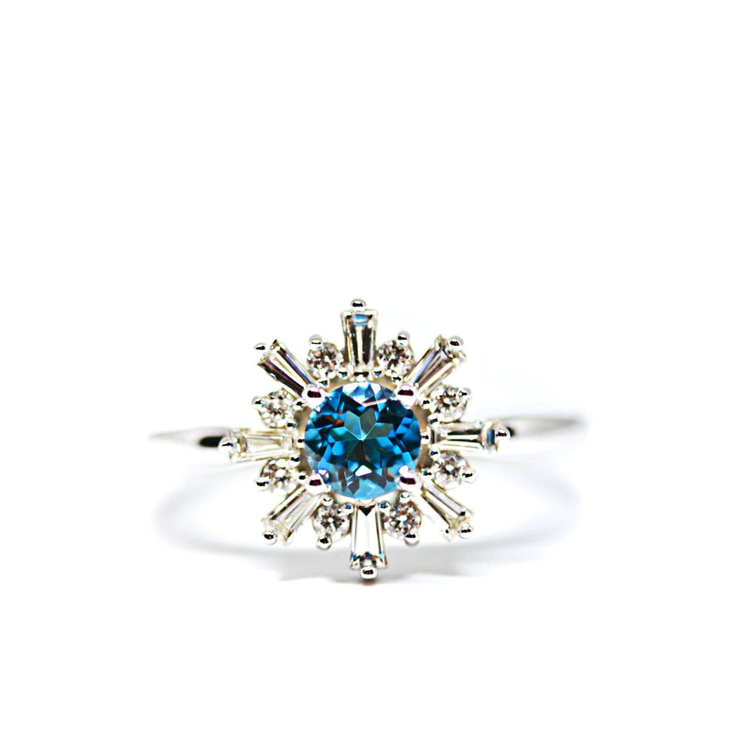 London Blue Topaz and Diamond Halo Ring in 14kt White Gold