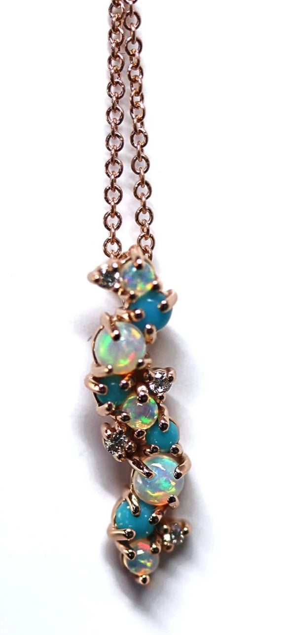 Genuine Ethiopian Opal, Diamond, and Turquoise Pendant in 14kt Rose Gold