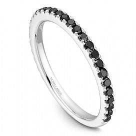 Stackable Shared Prong Black Diamond Straight Band STA2-1W