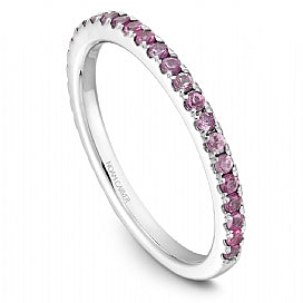 Stackable Shared Prong Pink Sapphire Straight Band STA2-1W