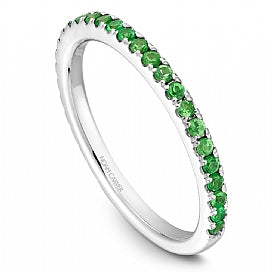 Stackable Shared Prong Green Garnet Straight Band STA2-1W