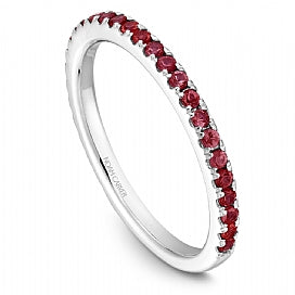 Stackable Shared Prong Ruby Straight Band STA2-1W