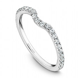 Shared Prong Diamond Curved Wedding Band Stackable STE1-1WM