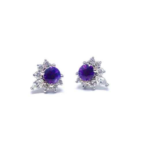 14kt White Gold Diamond and Round Cut Amethyst Earrings