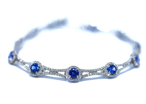5.06 Total Carat Weight Ceylon Blue Sapphire and Diamond Bracelet in 14kt White Gold